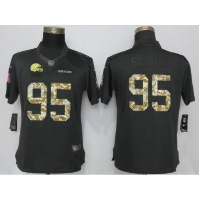 Nike Browns 95 Myles Garrett Anthracite Salute to Service Limited Women Jersey