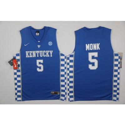 NCAA Kentucky Wildcats 5 Malik Monk Blue Basketball Men Jersey