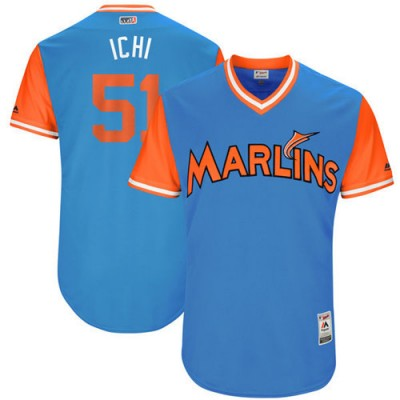 MLB Marlins 51 Ichiro Suzuki Ichi Majestic Blue 2017 Players Weekend Men Jersey