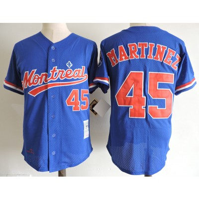 MLB Expos 45 Pedro Martinez Blue 1994 Mitchell and Ness Throwback Men Jersey