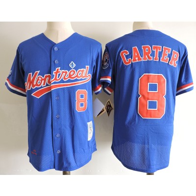 MLB Expos 8 Gary Carter Blue 1984 Mitchell and Ness Throwback Men Jersey