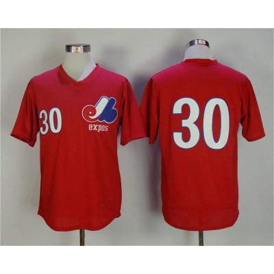 MLB Expos 30 Tim Raines Red 1982 BP Men Jersey