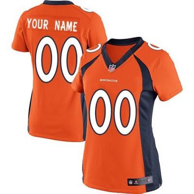 NFL Broncos Orange Nike Customized Women Jersey