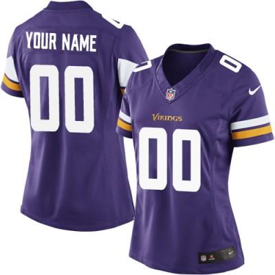 NFL Vikings Purple Customized Women Jersey