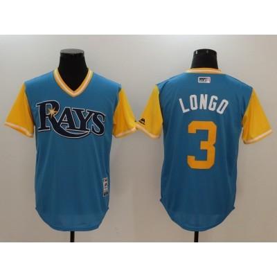 MLB Rays 3 Evan Longoria Longo Majestic Light Blue 2017 Players Weekend Men Jersey