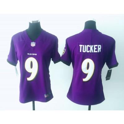 Nike Ravens 9 Justin Tucker Purple Vapor Untouchable Limited Women Jersey