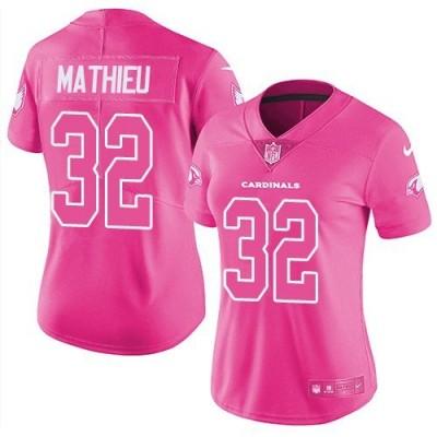 Nike Arizona Cardinals 32 Tyrann Mathieu Pink Stitched NFL Limited Rush Fashion Women Jersey