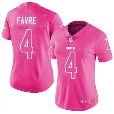 Nike Green Bay Packers 4 Brett Favre Pink Stitched NFL Limited Rush Fashion Women Jersey