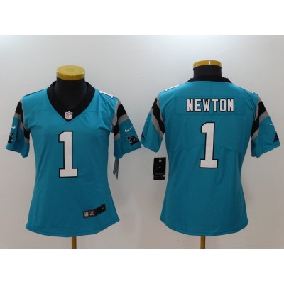 Nike Panthers 1 Cam Newton Blue Vapor Untouchable Limited Women Jersey