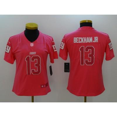 Nike Giants 13 Odell Beckham Jr Pink Stitched NFL Limited Rush Fashion Women Jersey