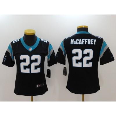 Nike Panthers 22 Christian McCaffrey Black Vapor Untouchable Limited Women Jersey