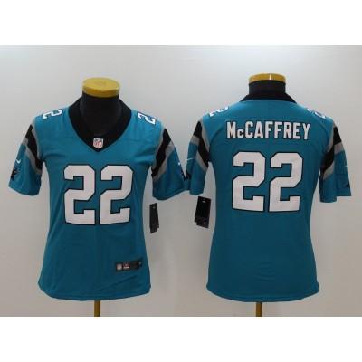 Nike Panthers 22 Christian McCaffrey Blue Vapor Untouchable Limited Women Jersey