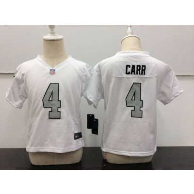 Nike Raiders 4 Derek Carr White With Silver Number NFL Toddler Jersey