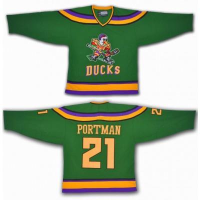 Anaheim Mighty Ducks 21 Dean Portman Green Movie Hockey Men Jersey