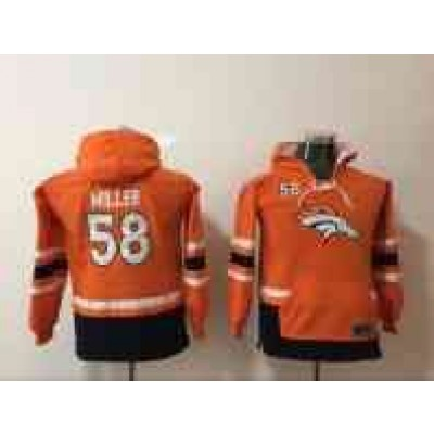 Nike Denver Broncos 58 Von Miller Orange All Stitched Hooded Youth Sweatshirt