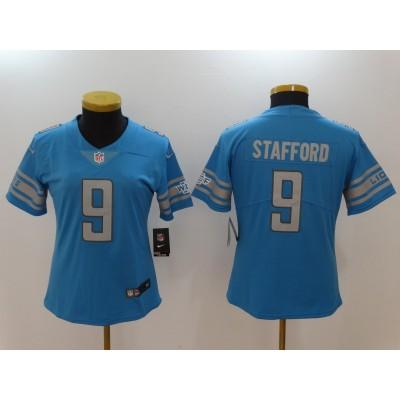 Nike Lions 9 Matthew Stafford Blue Vapor Untouchable Limited Women Jersey
