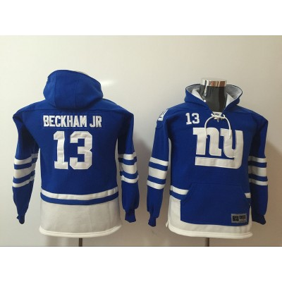 Nike New York Giants 13 Odell Beckham Jr Blue All Stitched Hooded Youth Sweatshirt