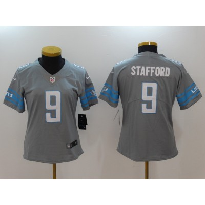 Nike Lions 9 Matthew Stafford Grey 2017 Color Rush Limited Women Jersey