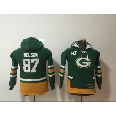 Nike Green Bay Packers 87 Jordy Nelson Green All Stitched Hooded Youth Sweatshirt
