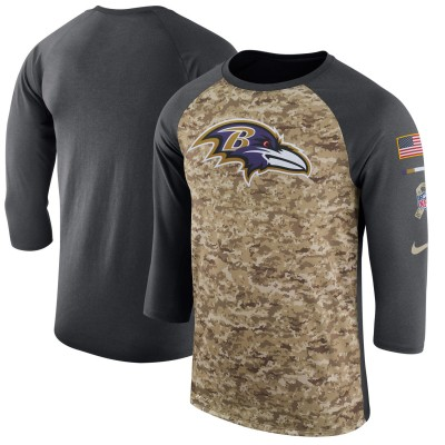 Nike Baltimore Ravens Camo Anthracite Salute to Service Sideline Legend Performance Three-Quarter Sleeve Men T-Shirt