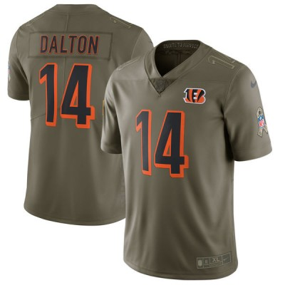 Nike Bengals 14 Andy Dalton Olive 2017 Salute To Service Limited Youth Jersey