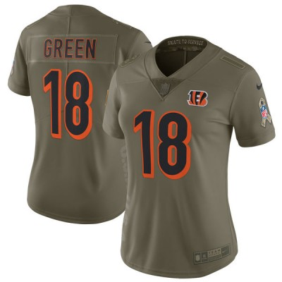 Nike Bengals 18 A.J. Green Olive 2017 Salute To Service Limited Women Jersey