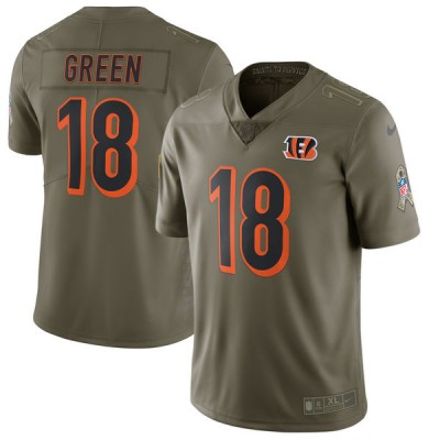 Nike Bengals 18 A.J. Green Olive 2017 Salute To Service Limited Youth Jersey