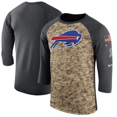 Nike Buffalo Bills Camo Anthracite Salute to Service Sideline Legend Performance Three-Quarter Sleeve Men T-Shirt