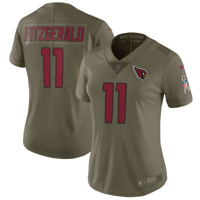 Nike Cardinals 11 Larry Fitzgerald Olive 2017 Salute To Service Limited Women Jersey
