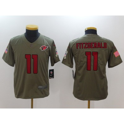 Nike Cardinals 11 Larry Fitzgerald Olive 2017 Salute To Service Limited Youth Jersey