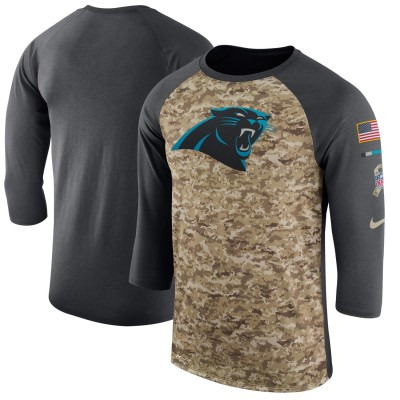Nike Carolina Panthers Camo Anthracite Salute to Service Sideline Legend Performance Three-Quarter Sleeve Men T-Shirt