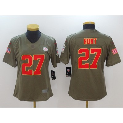 Nike Chiefs 27 Kareem Hunt Olive 2017 Salute To Service Limited Women Jersey