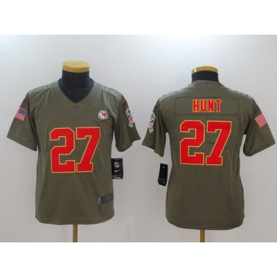 Nike Chiefs 27 Kareem Hunt Olive 2017 Salute To Service Limited Youth Jersey