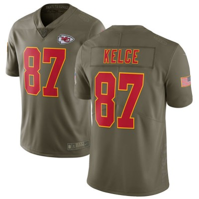 Nike Chiefs 87 Travis Kelce Olive 2017 Salute To Service Limited Youth Jersey