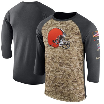Nike Cleveland Browns Camo Anthracite Salute to Service Sideline Legend Performance Three-Quarter Sleeve Men T-Shirt
