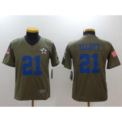 Nike Cowboys 21 Ezekiel Elliott Olive 2017 Salute To Service Limited Youth Jersey
