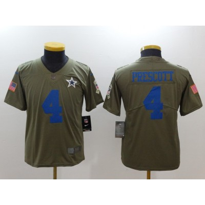 Nike Cowboys 4 Dak Prescott Olive 2017 Salute To Service Limited Youth Jersey