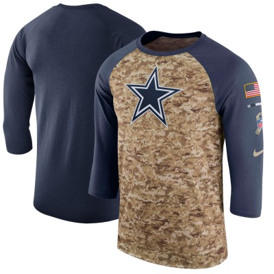 Nike Dallas Cowboys Camo Navy Salute to Service Sideline Legend Performance Three-Quarter Sleeve Men T-Shirt