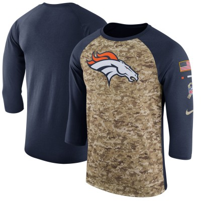 Nike Denver Broncos Camo Navy Salute to Service Sideline Legend Performance Three-Quarter Sleeve Men T-Shirt