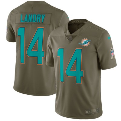 Nike Dolphins 14 Jarvis Landry Olive 2017 Salute To Service Limited Youth Jersey