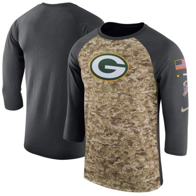 Nike Green Bay Packers Camo Anthracite Salute to Service Sideline Legend Performance Three-Quarter Sleeve Men T-Shirt