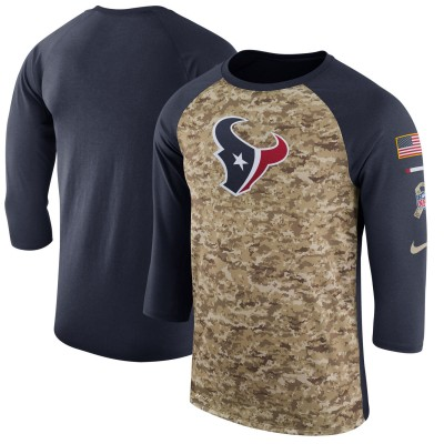 Nike Houston Texans Camo Navy Salute to Service Sideline Legend Performance Three-Quarter Sleeve Men T-Shirt