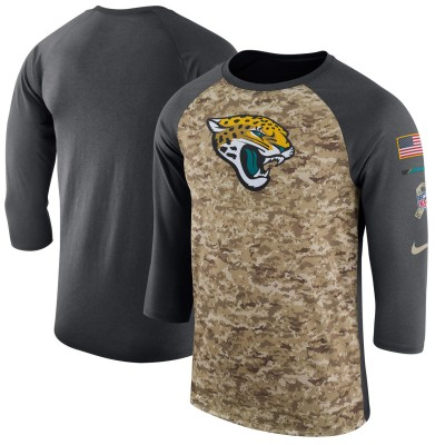Nike Jacksonville Jaguars Camo Anthracite Salute to Service Sideline Legend Performance Three-Quarter Sleeve Men T-Shirt