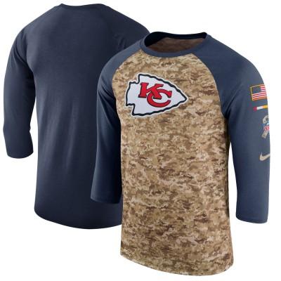 Nike Kansas City Chiefs Camo Anthracite Salute to Service Sideline Legend Performance Three-Quarter Sleeve Men T-Shirt