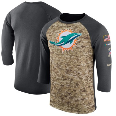 Nike Miami Dolphins Camo Anthracite Salute to Service Sideline Legend Performance Three-Quarter Sleeve Men T-Shirt