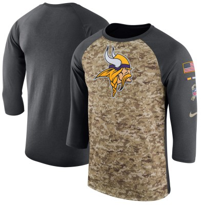 Nike Minnesota Vikings Camo Anthracite Salute to Service Sideline Legend Performance Three-Quarter Sleeve Men T-Shirt