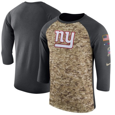 Nike New York Giants Camo Anthracite Salute to Service Sideline Legend Performance Three-Quarter Sleeve Men T-Shirt