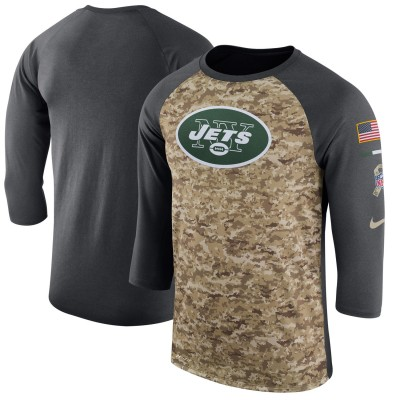 Nike New York Jets Camo Anthracite Salute to Service Sideline Legend Performance Three-Quarter Sleeve Men T-Shirt