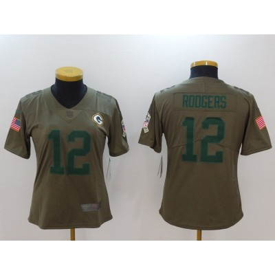 Nike Packers 12 Aaron Rodgers Olive 2017 Salute To Service Limited Women Jersey