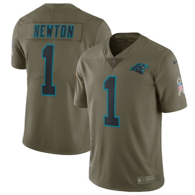 ce9d75df4 Nike Panthers 1 Cam Newton Olive 2017 Salute To Service Limited Youth Jersey